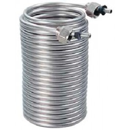 "Stainless steel 50' cooling coil, 5/16"" OD, beer nuts and ferrules"
