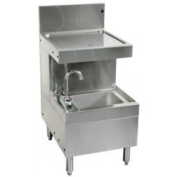 """Underbar SS wet waste sink, cabinet w door, drainboard 18""""W x 24""""D"""