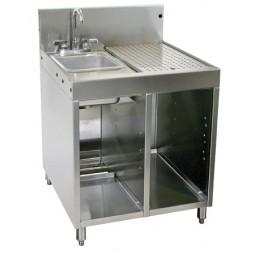 """Underbar SS wet waste sink, cabinet, drainboard, divider 24""""W x 24""""D"""